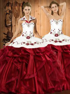 Halter Top Sleeveless Organza Ball Gown Prom Dress Embroidery and Ruffles Lace Up