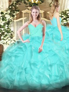 Classical Spaghetti Straps Sleeveless Quinceanera Gowns Floor Length Ruffles Aqua Blue Organza