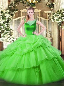 Scoop Sleeveless Organza Quinceanera Gowns Beading and Pick Ups Side Zipper