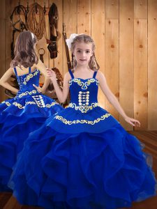 Royal Blue Ball Gowns Embroidery Winning Pageant Gowns Lace Up Organza Sleeveless Floor Length