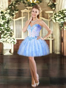 Noble Baby Blue Ball Gowns Tulle Sweetheart Sleeveless Beading and Ruffles Mini Length Lace Up