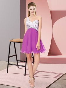Chiffon Sleeveless Mini Length Prom Evening Gown and Beading