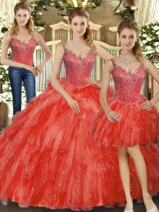 Beading and Ruffles Quinceanera Dresses Red Lace Up Sleeveless Floor Length