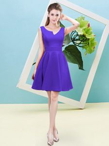 Satin Asymmetric Sleeveless Zipper Ruching Quinceanera Dama Dress in Purple
