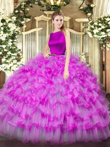 Ball Gowns Sweet 16 Quinceanera Dress Fuchsia Scoop Organza Sleeveless Floor Length Clasp Handle