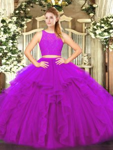 Ruffles Sweet 16 Dresses Fuchsia Zipper Sleeveless Floor Length