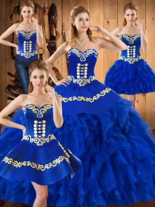 Blue Sweetheart Lace Up Embroidery and Ruffles 15 Quinceanera Dress Sleeveless
