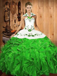 Sexy Green Ball Gowns Satin and Organza Halter Top Sleeveless Embroidery and Ruffles Floor Length Lace Up Sweet 16 Dress