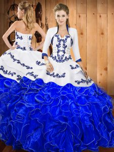 Embroidery and Ruffles 15th Birthday Dress Blue And White Lace Up Sleeveless Floor Length
