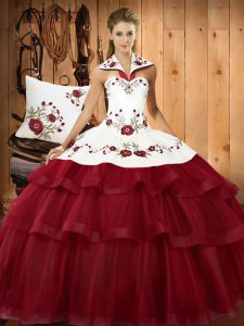 Sleeveless Satin and Organza With Train Sweep Train Lace Up Sweet 16 Dress in Wine Red with Embroidery and Ruffled Layers