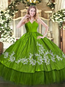 Olive Green Zipper V-neck Embroidery Quince Ball Gowns Satin and Tulle Sleeveless