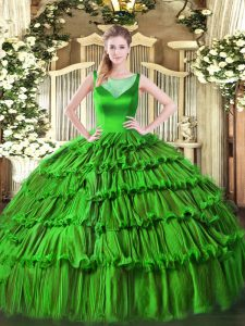 Green Organza Side Zipper Scoop Sleeveless Floor Length Sweet 16 Dress Beading and Ruffled Layers
