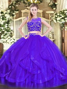Enchanting Sleeveless Tulle Floor Length Zipper Quinceanera Dresses in Purple with Beading and Ruffles