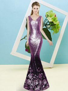 Sleeveless Floor Length Sequins Zipper Prom Dress with Purple