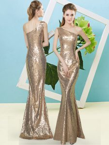Sequins Homecoming Dress Gold Zipper Sleeveless Floor Length