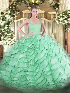 Superior Sleeveless Organza Brush Train Zipper 15th Birthday Dress in Apple Green with Ruffled Layers