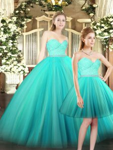 Ruching 15 Quinceanera Dress Aqua Blue Lace Up Sleeveless Floor Length