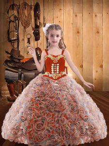Organza Straps Sleeveless Lace Up Embroidery and Ruffles Pageant Dress Toddler in Multi-color