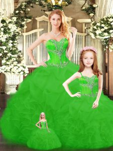Green Lace Up 15 Quinceanera Dress Beading and Ruffles Sleeveless Floor Length