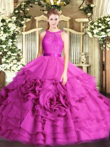 Fuchsia Sleeveless Fabric With Rolling Flowers Zipper Quinceanera Gown for Military Ball and Sweet 16 and Quinceanera