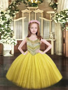 Modern Floor Length Gold Kids Pageant Dress Scoop Sleeveless Lace Up