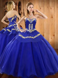 Beauteous Blue Sweetheart Neckline Embroidery 15 Quinceanera Dress Sleeveless Lace Up