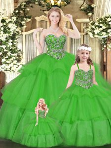 Green Organza Lace Up Quinceanera Dresses Sleeveless Floor Length Beading and Ruffled Layers