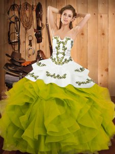 Olive Green Ball Gowns Satin and Organza Strapless Sleeveless Embroidery and Ruffles Floor Length Lace Up Quinceanera Dresses