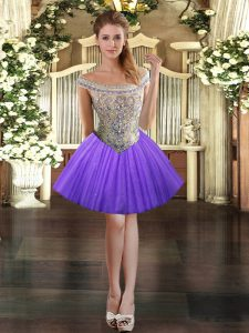 Elegant Off The Shoulder Sleeveless Prom Party Dress Mini Length Beading Lavender Tulle