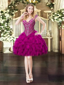 Sweet V-neck Sleeveless Homecoming Dress Mini Length Beading and Ruffles Fuchsia Organza