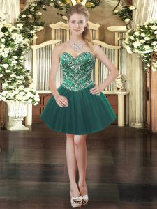 Fine Dark Green Lace Up Sweetheart Beading Evening Dress Tulle Sleeveless