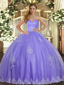 Beautiful Lavender Ball Gowns Sweetheart Sleeveless Tulle Floor Length Lace Up Beading and Appliques Sweet 16 Dress