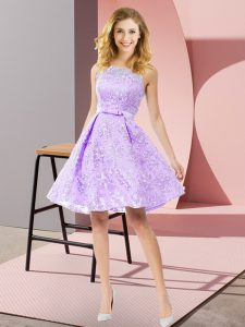 Lavender A-line Bowknot Quinceanera Court Dresses Zipper Lace Sleeveless Knee Length