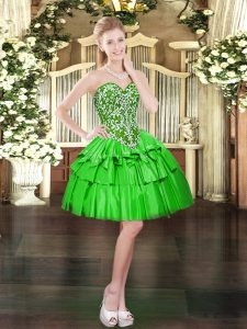 Sleeveless Mini Length Beading and Ruffled Layers Lace Up Prom Evening Gown with Green