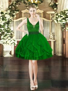 Noble Dark Green Sleeveless Tulle Lace Up for Prom and Party