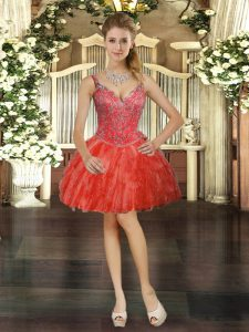 Red V-neck Neckline Beading and Ruffles Prom Dresses Sleeveless Lace Up