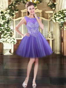 High Class Lavender Tulle Lace Up Scoop Sleeveless Mini Length Prom Evening Gown Beading