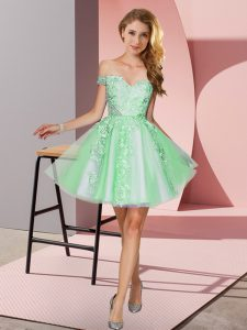 Apple Green Off The Shoulder Zipper Appliques Court Dresses for Sweet 16 Sleeveless