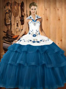 Great Blue Ball Gowns Organza Halter Top Sleeveless Embroidery and Ruffled Layers Lace Up 15th Birthday Dress Sweep Train