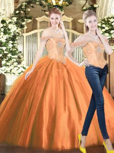 Fine Tulle Off The Shoulder Sleeveless Lace Up Beading 15th Birthday Dress in Orange Red