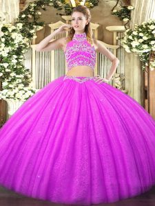 Custom Fit Lilac Two Pieces Tulle High-neck Sleeveless Beading Floor Length Backless 15 Quinceanera Dress