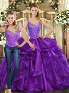 Vintage Sleeveless Organza Floor Length Lace Up Vestidos de Quinceanera in Purple with Beading and Ruffles