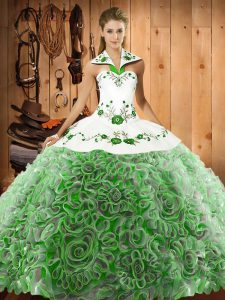 Charming Halter Top Sleeveless Sweep Train Lace Up Quinceanera Gown Multi-color Organza and Fabric With Rolling Flowers