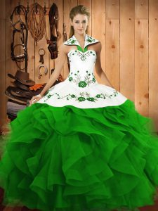 Latest Green Lace Up Quince Ball Gowns Embroidery and Ruffles Sleeveless Floor Length