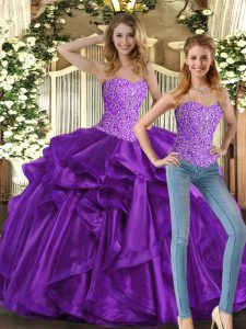 Smart Sweetheart Sleeveless Tulle Quinceanera Dress Beading and Ruffles Lace Up