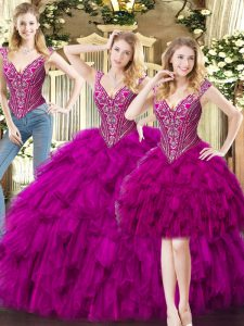 Low Price Floor Length Fuchsia Quinceanera Dresses Organza Sleeveless Beading and Ruffles