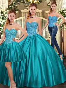 Sumptuous Teal Tulle Lace Up Quinceanera Gowns Sleeveless Floor Length Beading