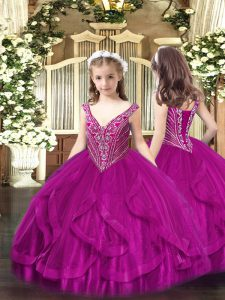 Beading and Ruffles Pageant Dress for Teens Fuchsia Lace Up Sleeveless Floor Length