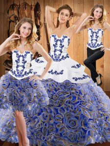 Multi-color Lace Up Strapless Embroidery and Ruffles Quinceanera Dresses Satin and Fabric With Rolling Flowers Sleeveless Sweep Train