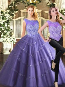 Dazzling Lavender Sweet 16 Dress Military Ball and Sweet 16 and Quinceanera with Beading Scoop Sleeveless Zipper